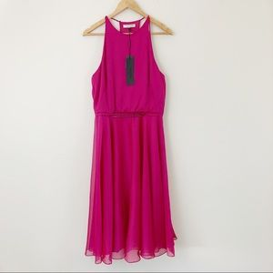 Halston Heritage Chiffon Fit and Flare Dress